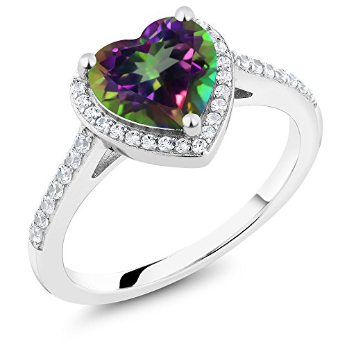 2.21 Ct Heart Shape Green Mystic Topaz 925 Sterling Silver Engagement Ring (Size ()
