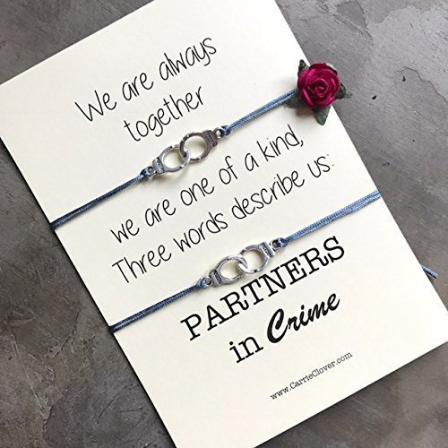 Partners in Crime Bracelets, Best Friend Card, Best Friend ,Gift Gift card, Inspirational Quote card, Wish Bracelet, Best Friend Quotes, A40