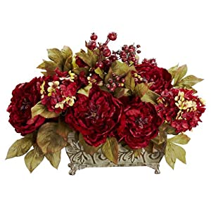 Nearly Natural 4929 Peony and Hydrangea Silk Flower Arrangement, Red 32