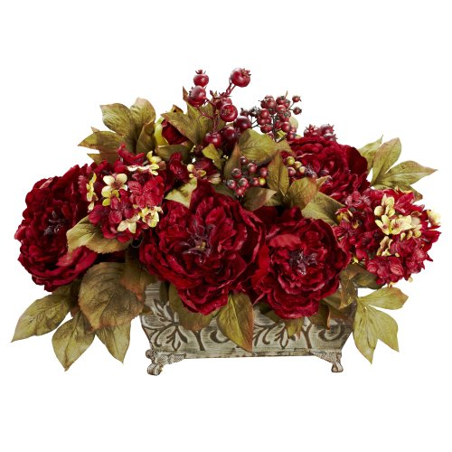 Nearly Natural 4929 Peony and Hydrangea Silk Flower Arrangement, Red Red Floral Arrangement