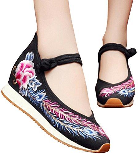 Satuki Geborduurde Schoenen Voor Dames, Chinese Knopenstijl Handgemaakte Casual Loafer Wandelschoenen Voor Bloemen Zwart