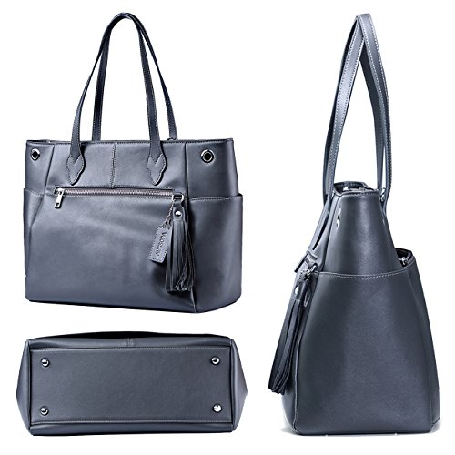 Large Bag Closure Roomy Luggage 13 Leather Carryall Fashion with Laptop Business Functional inch Trolley Synthetic AUGSOPA Grey Grey 5 Compartment 13 Tote PU Women`s Sleeve Durable Zipper vTdxZqwPq