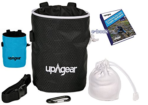 upAgear Rock Climbing Chalk Bag with Climbing Chalk - Includes everything to start that Climb - Chalk Ball, Belt, Carabiner, Large Pocket and ebook - great for Bouldering, Gymnastics, Weight Lifting