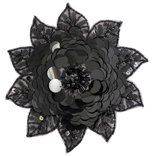 Beaded Sequin Flower Applique by 1 pc, 6-1/2