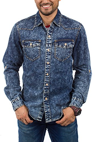 Acid Wash Denim Shirt - BRANDS UNLIMITED Mens RWW250 Denim Casual Shirt with Patterns and Long Sleeves RWW250 Acid Wash S