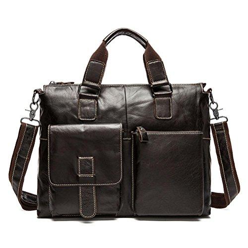GTUKO Herren Aktentasche Echt Leder Unives Vintage Henkeltasche 14 Zoll Laptoptasche Umhängetasche Schulter Tasche , Kaffee - Hardware Farbe Dunkelbraun