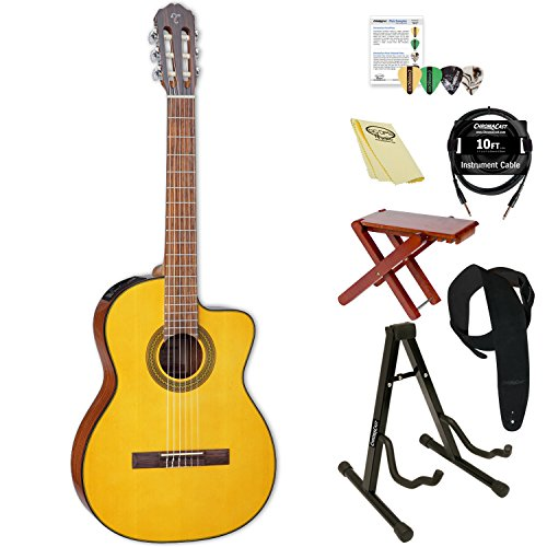 Takamine GC1CE NAT-KIT-2 Classical Acoustic-Electric Guitar with ChromaCast Accessories, Natural