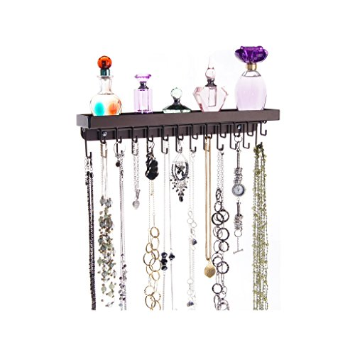 Angelynn's Wall Mount Necklace Holder Organizer Storage Rack with Shelf, Schelon Rubbed Bronze