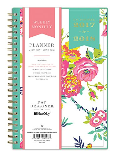 "Day Designer for Blue Sky 2017-2018 Academic Year Weekly & Monthly Planner, Twin-Wire Bound, 5"" x 8"", White Floral"