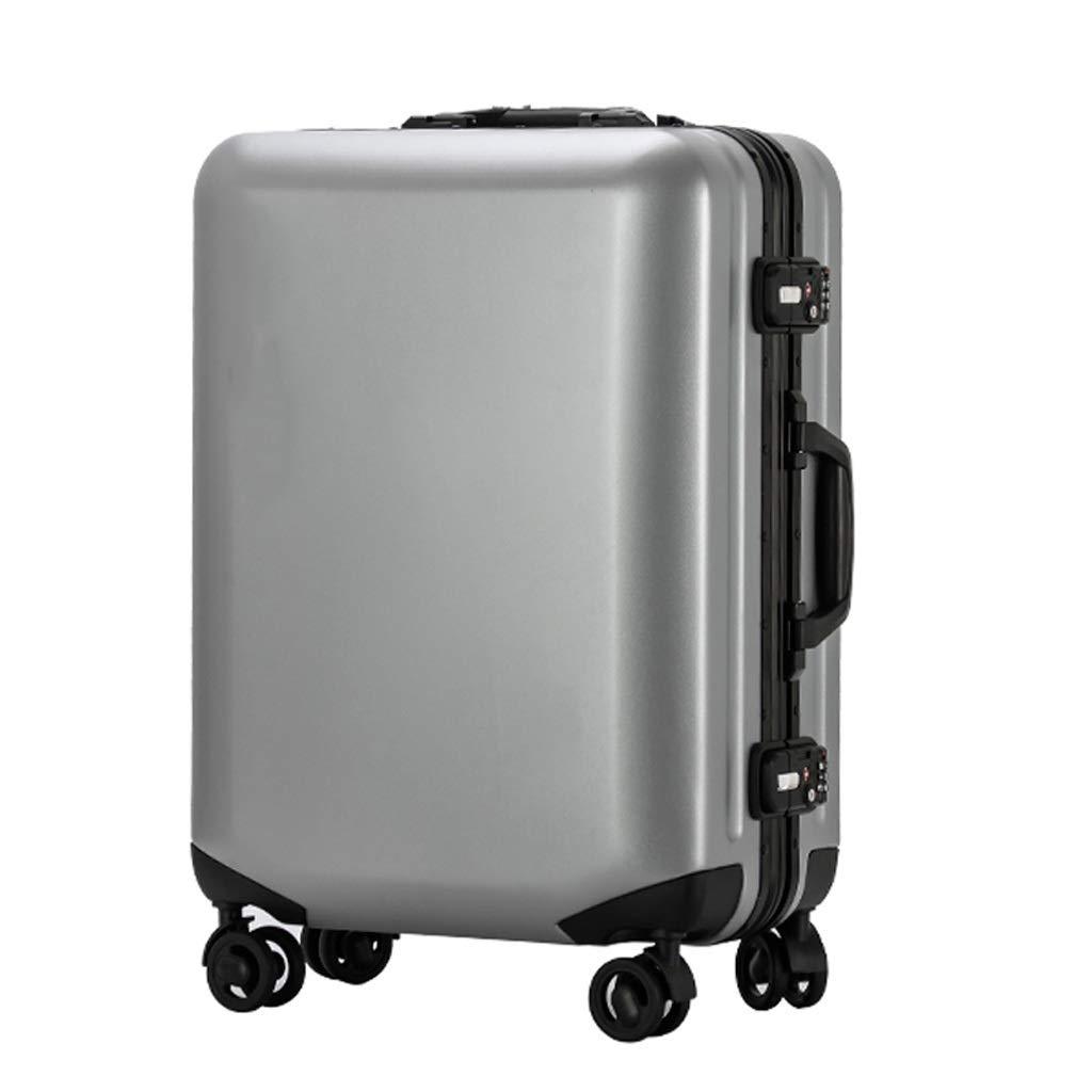 ZHAOSHUHLI スーツケース旅行トロリーケースビジネス搭乗アルミフレームスーツケース女性男性ユニバーサルホイールスーツケースハードボックス (Color : Silver gray, Size : 20'') B07R1L4WZ8 Silver gray 20''
