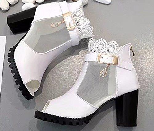 Blanc Sandales Femme Aisun Dentelle Mode Montant Bouche Poisson De nq0xZ8dxwv