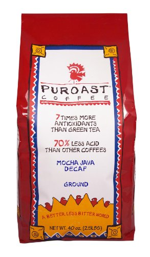 Puroast Low Acid Coffee Mocha Java Natural Decaf Drip Grind, 2.5-Pound Bag
