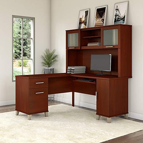 Bush Furniture Somerset 60W L Shaped Desk with Hutch in Hansen Cherry ()