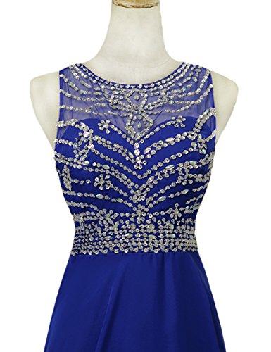 Blue Women's Chapel Sleeveless Dress Beading AbaoWedding® Train Evening ZUgOXq4wn