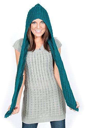 Womens Winter Knit Hooded Scarf Headscarf Neckwarmer Hoodie Hat - Turquoise