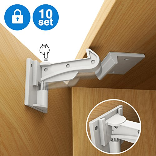 Cabinet Locks Child Safety, Slick Invisible Spring No Drill Baby Proof Safety Latches for Kitchen & Bedroom Cabinets & Cupboards Drawers with & 3M Adhesive & 20 Screws Durable Fixed – 10 Pack