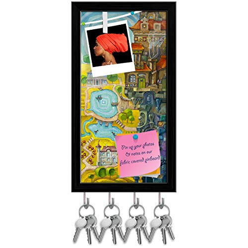 Artzfolio Whimsical Building with Architectural Elements Key Holder Hooks | Notice Pin Board | Black Frame 10 X ()