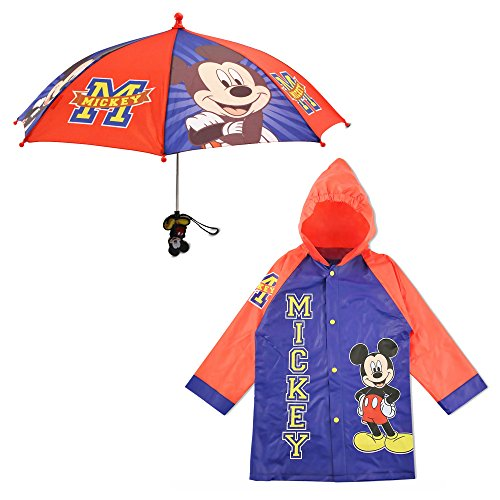 Disney Little Boys Mickey Mouse Slicker and Umbrella Rainwear Set, Blue/Red, Age 2-3