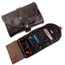 Traditional Brown Genuine Leather Tobacco Smoking Pipe Pouch Bag Organize Case Pipe Tool lighter Holder Pocket for 2 Pipe (black-brown)