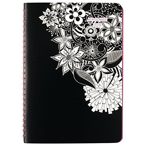 "AT-A-GLANCE Weekly / Monthly Planner, January 2018 - January 2019, 5-1/2"" x 8-1/2"", Premium, FloraDoodle (589-200)"