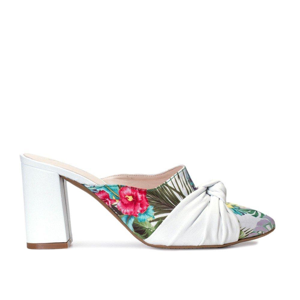 Gennia Marie Weiss Blumen gemacht, - Damen, aus Leder gemacht, Blumen Absatz Blockabsatz, höhe 7 cm, größe 33-45 - b2118e