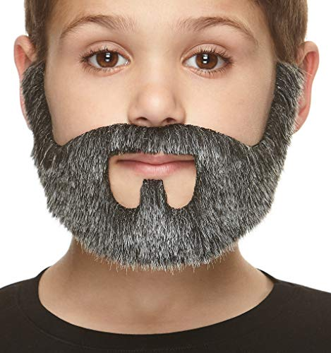 Mustaches Fake Beard, Self Adhesive, Novelty, Small On Bail False Facial Hair, Costume Accessory for Kids, Salt and Pepper Color