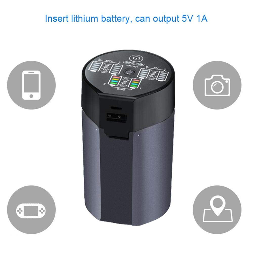 18650 Battery Charger,Smart 6 Slot Automatic LED Display USB Rechargeable Batteries Charger for 1.2V Ni-MH Ni-Cd AA AAA 3.7V Li-ion 18650 14500 10440 with Power Bank and Led Flashlight Function