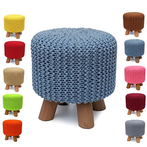 UUSSHOP Handmade 100% Cotton Knitted Foot Stool Footstool Footrest Pouffe Ottoman Stool Chair Seat ( Blue )