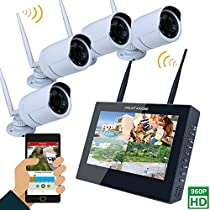 MOUNTAINONE 10 TFT 4CH 960P HD Wireless DVR Video Security System (NVR Kits)-4PCS 1.3MP Wireless Weatherproof Bullet IP Cameras,Plug and Play,65ft Night Vision, No Hard Drive