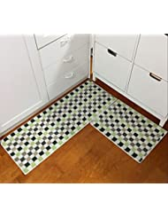 Easychan 2 Piece Carpet Rubber Backing Non Slip Kitchen Rugs Mat Doormat Area Rugs 17 X23 17 X47 Green Mosaic