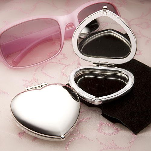 Personalized Heart Mirror Compact (Heart Shaped Compact Mirror Favors,)