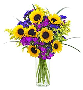 Mother's Day Collection: Butter-Flies Home Mixed Bouquet of Sunflowers, Dianthus, Solidago, Purple Statices and Lush Bear Grass with Vase - by KaBloom