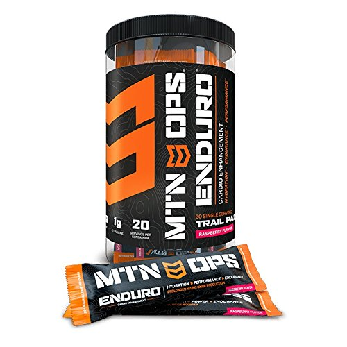 MTN OPS Enduro Cardio Energy Enhancement Supplement Trial Packs, Nitric Oxide Boost (No Crash), Raspberry Flavor, 20 Single-Serving Stick Packs by MTN OPS