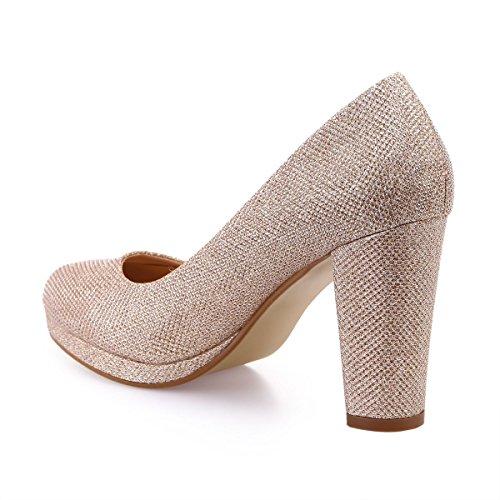 La 48729 Sintético Mujer Doré De Zapatos Rose Vestir Modeuse AO5rwqA
