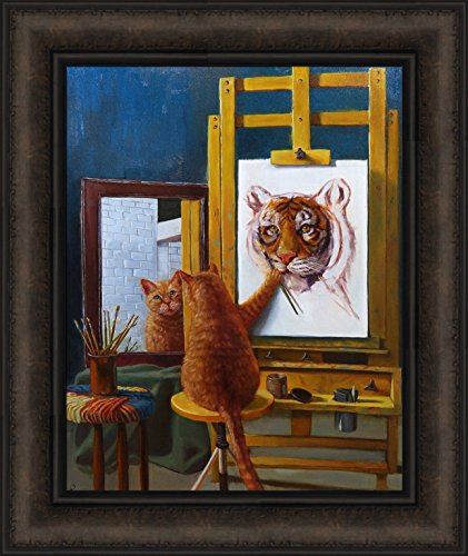 Home Cabin Décor Norman Catwell by Lucia Heffernan 16x19 Humorous Funny Art Kitty Self Portrait Painting Cat Tiger Framed Print Picture ()