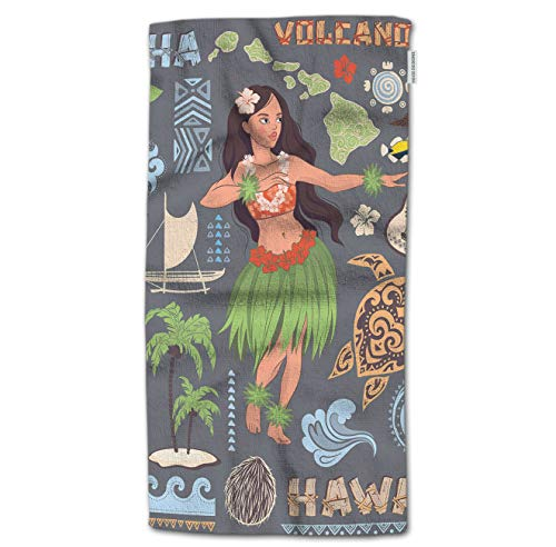 """HGOD DESIGNS Hand Towel Hawaii,Vintage Set of Hawaiian Icons and Symbols Girl Guitar Volcanic Hand Towel Best for Bathroom Kitchen Bath and Hand Towels 30"""" Lx15 W"""