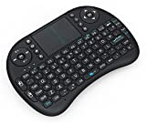 Inditradition 2.4GHz Mini Wireless Keyboard with Touchpad Mouse, LED Backlit, Rechargable Li-ion Battery (Black)