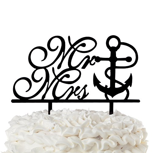 Price comparison product image Mr & Mrs Wedding Cake Topper Anchor Black Acrylic Cursive Nautical Toppers (Mr & Mrs Anchor)