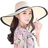 Siggi Ladies Summer Straw Panama Foldable Fedora Floppy Sun Hat Wide Brim Beach for Women