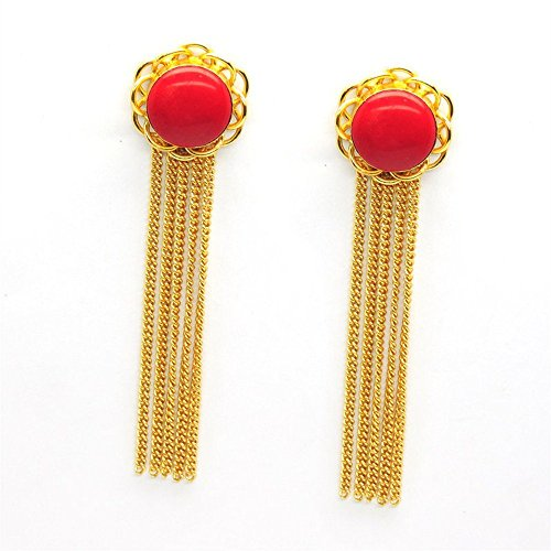 Vaidehijewellers01 Designer 18k Gold Plated Red Glass Coral Round Cabochon Stud Beautiful Part Wear Earring for Women