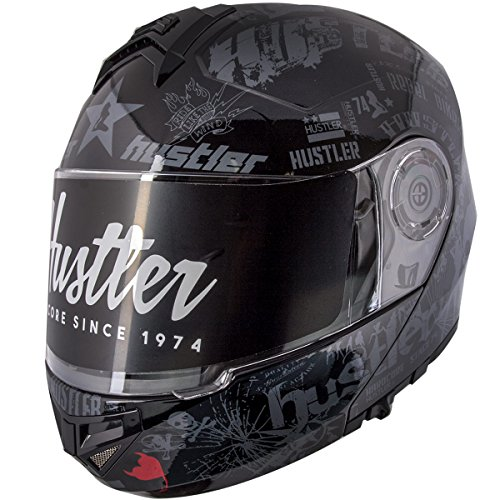 (Hustler HT-65 Hardcore Gloss Black and Gray Modular Motorcycle Helmet with Drop - Large)