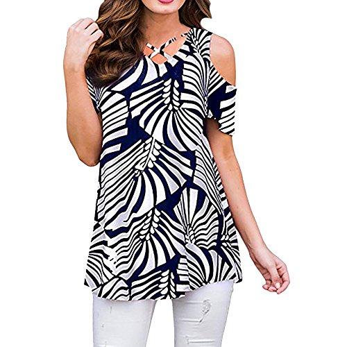 f13354facf1c8 UOKNICE Big Womens Tops,Summer Women Short Sleeve O-Neck Printed Splicing  Tops Plus