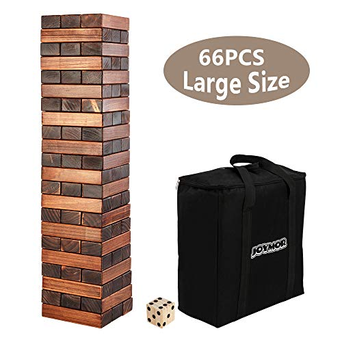 JOYMOR 66PCS 2.74 Feet Tall, Build to Over 5.5 feet Largest Amount PCS and Tallest Wooden Toppling Tower & Giant Tumbling Timbers Game with 1 Dice Set Canvas Bag for Adult, Kids, Family