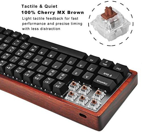 MAIDERN 64 Teclas Teclado mecánico Gaming (Cherry MX Brown, Retroiluminación Multicolor RGB, Resistente al Polvo ya Las Salpicaduras, QWERTY), Marco ...