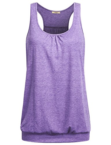 Miusey Womens Sleeveless Round Neck Loose Fit Racerback Workout Tank Top (Large, Light Purple)