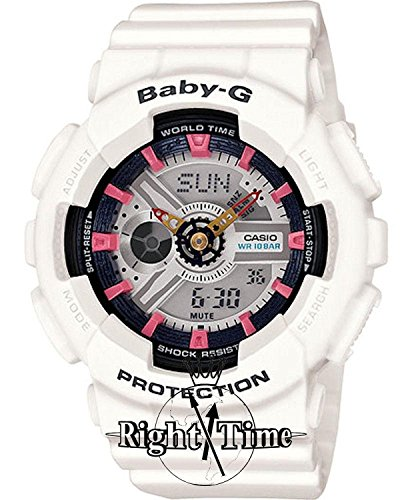 Casio BA110SN-7ACR Unisex Baby-G Resin Case White Bracelet Band Two-Tone Dial White Watch
