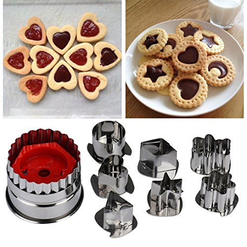 Longay 7pcs Mix Shaped Biscuit Sugar Craft Foondant Cake Cutter Mould Mold Baking Tools (A)