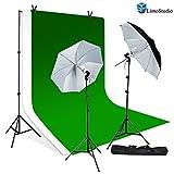 LimoStudio 280W Photo Studio Light Kit, 10' x 10' Green Chroma Key, 10' x 10'White Muslin Backdrop Background Photo Portrait Studio Large 40'' Black/White Umbrella Continuous Lighting Kit, AGG1729