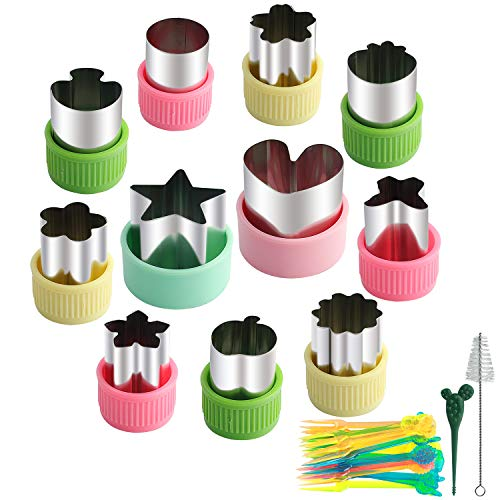 Youliya 11 Pcs Stainless Steel Cookie & Vegetable & Fruit Cutters Shapes Sets, Mini Cookie Stamp Mold, Sandwich Cutters for Kids Baking, Bento Box and Food Decoration Tools (with Pick Fork and Brush) (Food Design)