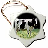 pansy Funny Christmas Snowflake Ornaments Farm Animals Holstein Cow Holiday Xmas Tree Hanging Ornaments Decoration Gifts
